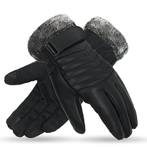 X-Prime Winter Warm Sports Outdoor Touchscreen Fashion Casual Cold Weather Gloves For Men (C. Black)
