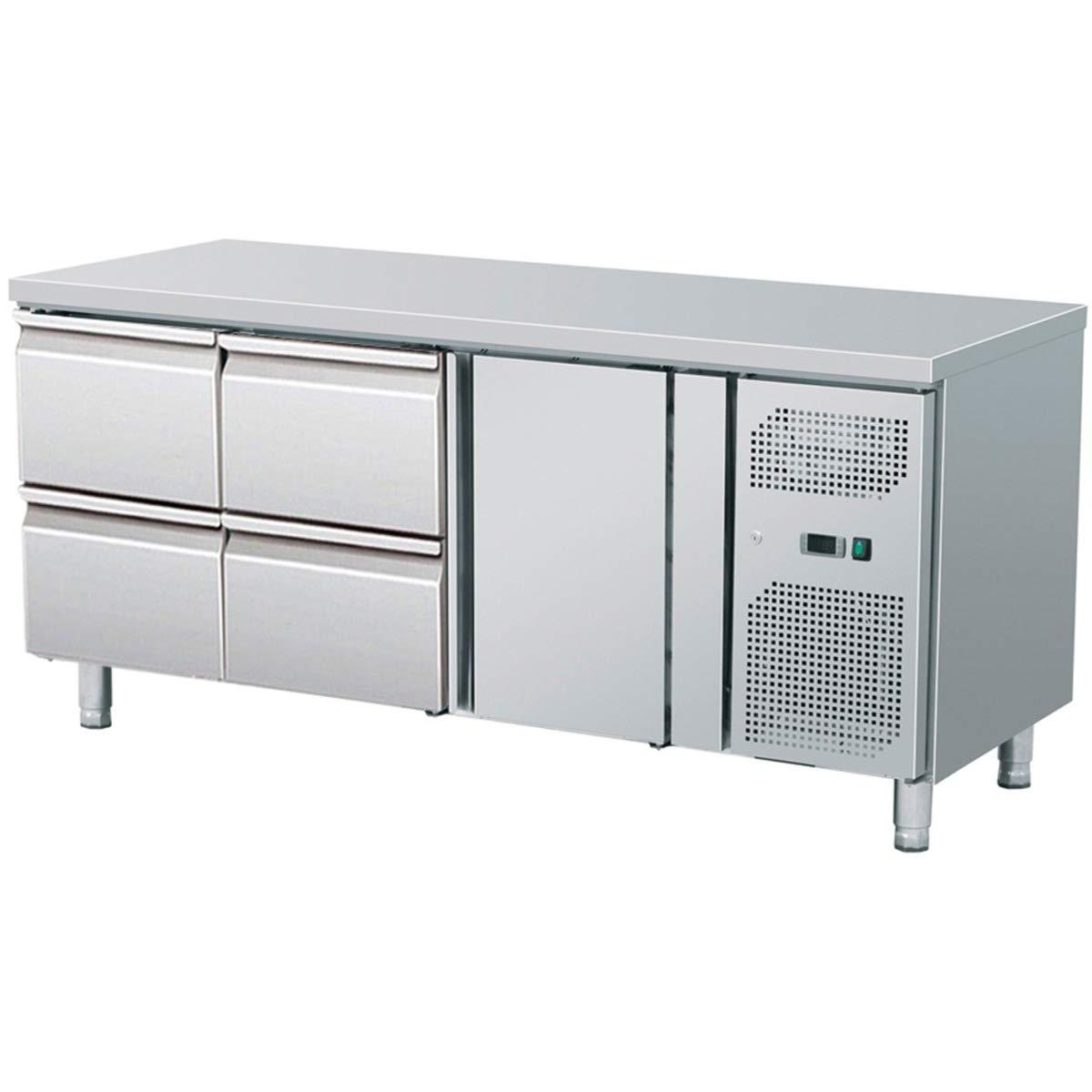 ZORRO - Kü hltisch mit Fü ß en ZGN 3140-2 Tü ren - 2 Schubladen - Gastro Zubereitungstisch mit Arbeitsflä che - R600A - Digitales Thermostat - Umluftkü hlung ZGN 3140 TN