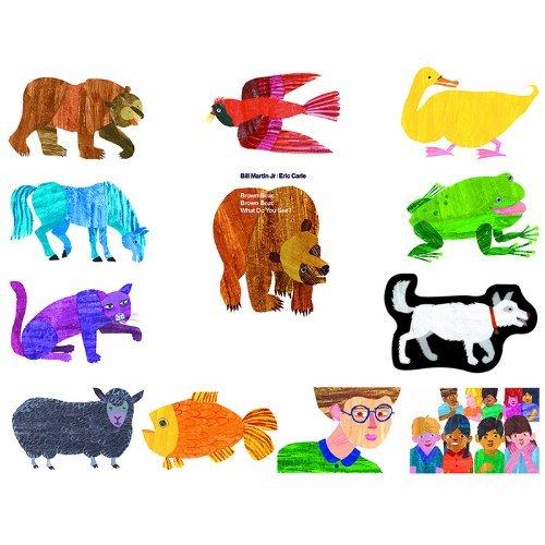 Little Folk Visuals Brown Bear Precut Flannel/Felt Board Figures for Toddlers, Kindergarteners, Interactive Teaching 14-Piece Set for Flannel Board Stories by Little Folk Visuals