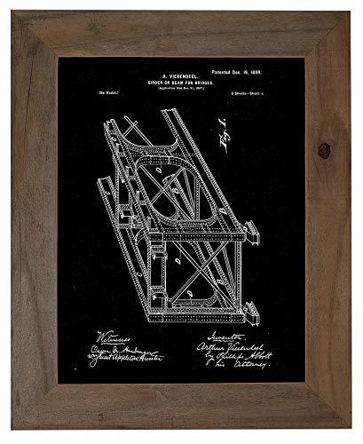 Girder or Beam for Bridges Patent Art Black Matte Print in a Barnwood Frame (16