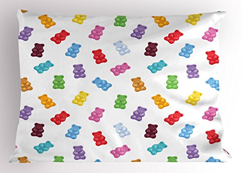 Lunarable Sweet Pillow Sham, Colorful Gummy Bears Kids Candy