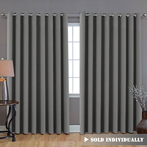 (H.VERSAILTEX Patio Door Curtain, Heavy-Duty Room Darkening Sliding Door Drape Room Divider Curtain Screen Partitions, Curtains for Bedroom 84 Inches Long (1 Panel, 8.5ft Wide by 7ft Long, Dove Gray))