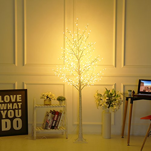 Bolylight LED Birch Tree 6ft 480L LED Christmas Decorations Lighted Tree Decor for Bedroom/Party/Wedding/Office/Home Outdoor and Indoor Use Warm -