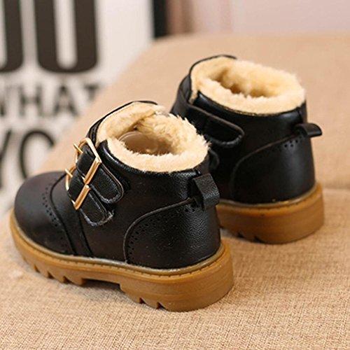 Huhu833 Kinder Mode Jungen Mädchen Stiefel Martin Stiefel Winter Warm Boots Kinder Schuhe Casual Snow Boots Schuhe Schwarz
