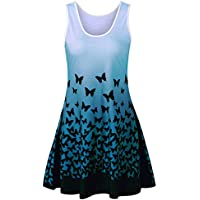 Chanyuhui Women Tunic Tops Dresses Lady Butterfly Sleeveless Evening Party Dress