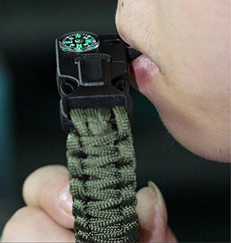 Choose Length10 JJMG 5 in 1 Multifunctional Paracord Bracelet with Compass Flint Fire Starter Scraper Whistle 9 8-2 Pack