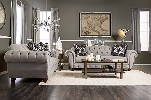 Furniture of America 2 Piece Bowie Modern Victorian Tufted Sofa Set, Gray