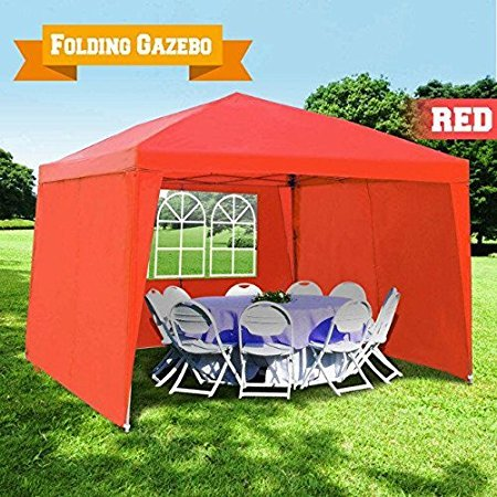 BenefitUSA EZ POP UP Wedding Party Tent 10'x13′ Folding Gazebo Beach Canopy W/Carry Bag 210D Oxford Fabric with 4 pcs Sidewalls