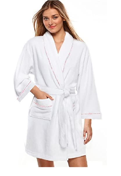 2/Pkg Set 100% algodón blanco, para mujer corto Spa bata albornoz W