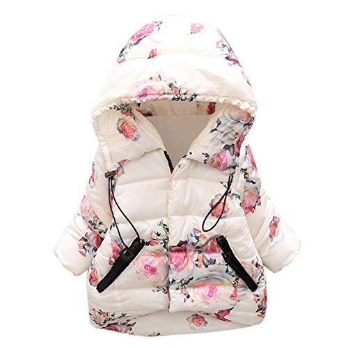 BOBORA Infant Baby Girl Butterfly Pattern Coat Toddler Jacket Outwear (2-3Y, White-2) (Infant Girl Winter Coat)