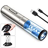 Electric Wine Opener, Rechargeable Automatic Wine Bottle Openers, Durable Stainless Cordless Electric Corkscrew Wine Cork Remover Easy to Use with Foil Cutter and USB Charging Cable