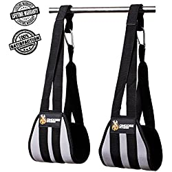 DMoose Fitness Ab Straps by Six Pack Home Gym Exerciser - Double Strap Support and Stitching, Rip-Resistant Fabric, Longer & Thick Arm Padding - Premium Grade Abs Workout Equipment for Men & Women