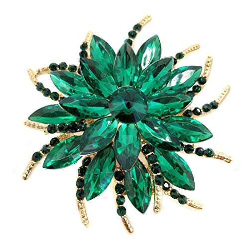 - Women Brooch Pin Rose Flower Camellia Inlay Crystal Vintage Style Dress Party Wedding (A Rose Flower Gold Green)