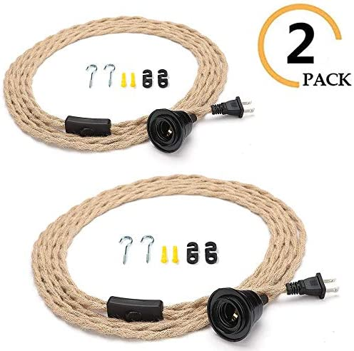 2 PCS Pendant Light Kit with Switch Plug in Vintage Lamp Cord with Twisted Hemp Rope 15FT E26 Extension Hanging Lantern Cable for Industrial Retro DIY Projects Farmhouse Lamp Cable DIY