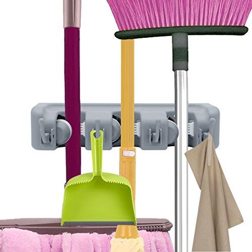 VICKMALL Gerätehalter Wandhalterung Ordnungsleiste Wandhalter mit 3 Haken und 4 Schnellspannern für Mopp, Besen und Gartenwerkzeug (3 Haken und 4 Schnellspannern)
