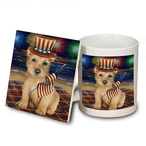 4th of July Independence Day Firework Australian Terrier Dog Mug and Coaster Set MUC52392 (Coasters Dishwasher Independence Safe)