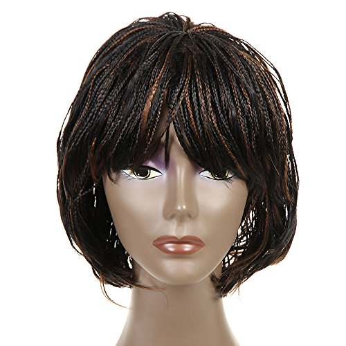 FeiBin Synthetic Lace Front Braided Lace Front Wigs Box African American Braided Wigs 12(Color 1B/30)
