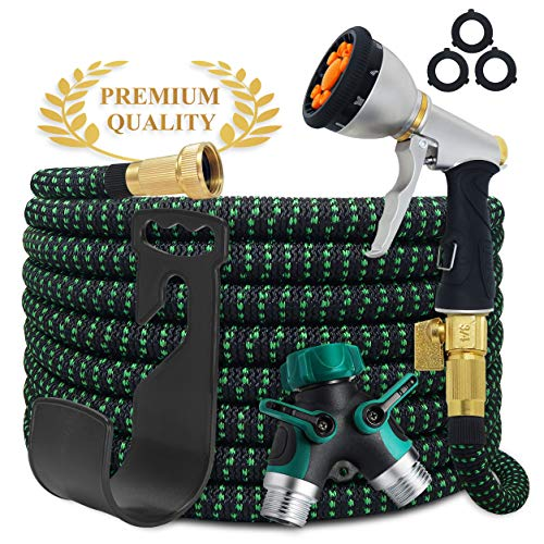 Aquila Garden Hose Pro   Upgraded   50 ft. Expandable Water Hose   9-Pattern Zinc Nozzle   Superior Strength 3750D, 4-Layers Latex   2-Way Pocket Splitter   Extra-Strong Brass Fittings