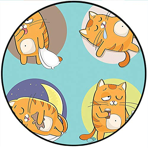 Short Plush Round Carpet Collection Cute Cartoon Cat in Various Poses Sleepy Lying Dreaming Morning Comic Art Turquoise Yellow Blue Used in a Variety of venues 19.7