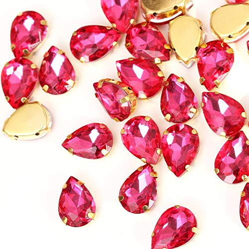 BLINGINBOX 40PCS Tear Drop Mixed Color Glass Sew On Rhinestones with Gold Claw Drop Crystal Sew On Claw Rhinestone Glitter Stones(10x14mm)