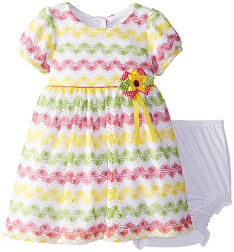 Rare Editions Baby Baby Girls' Chevron Crochet Dress, Multi Color, 12 Months (Editions Rare Bloomers)