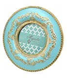 turquoise and gold picture frames - Concepts Turquoise Round Resin Picture Frame Gold Scroll Trim 4