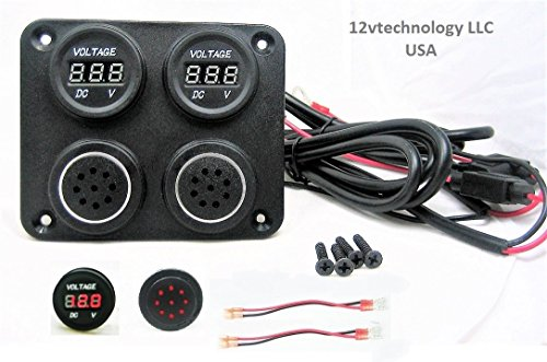 Two Dual Battery Voltmeter Monitor Measures Low Charge State Alarm Marine Solar Bank 12v (Bank Battery Monitor)