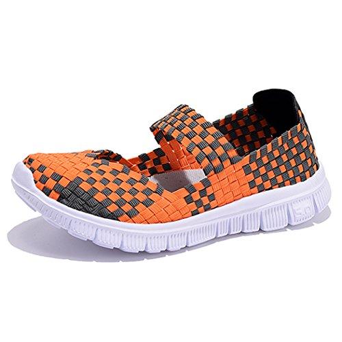 Mocasines Holgados Ocasionales De Sun Lorence Mujeres Zapatos Planos Tejidos Naranja