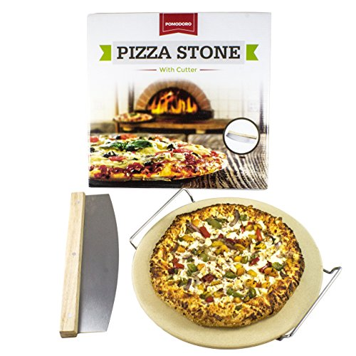 Cordierite Pizza Stone Cooking Kit with Pizza Cutter - 13'' Pizza Stone, Cutter and Cooling Metal Rack, Made for Oven and Barbeque Grill by Pomodoro