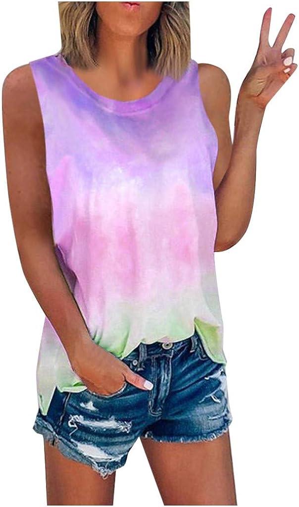 Lazapa Womens Sleeveless Yoga Workout Tank Tops Tie-Dye Gradient Color Block Racerback Tunic Top Tee Shirt Blouse
