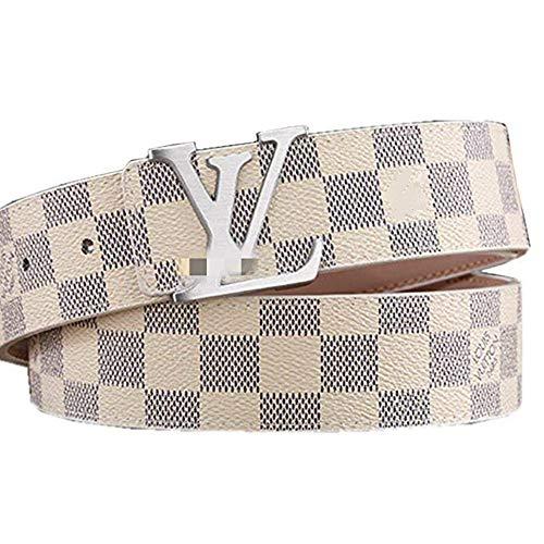 [해외]패션 가죽 메탈 버클 Lv 벨트 유니섹스 벨트 남성용 캐주얼 비즈니스 ... / Fashion Leather Metal Buckle Lv Belt Unisex Belt for men Casual Business (white, 125cm)