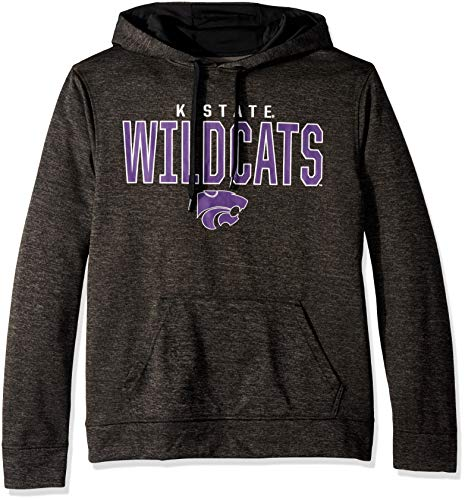Top of the World NCAA Men's Kansas State Wildcats Dark Heathered Foundation Poly Hoodie Black Heather Large