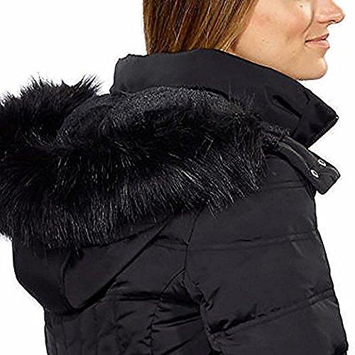 1 Madison Ladies Maxi Down Coat Detachable Faux Fur Hood,Black, Medium