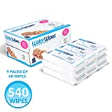 WaterWipes Unscented Baby Wipes, Sensitive and Newborn Skin, 9 Packs (540 Wipes): more info