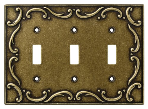 Brainerd 126350 Casual French Lace Triple Toggle Switch Wall Plate / Switch Plate / Cover, Burnished Antique Brass - Brainerd French Lace