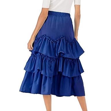 2d886606185d1f Femmes jupe gateau taille haute évasée jupe plissée évasée jupe mi ...