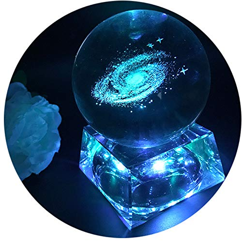 Zulux Galaxy Crystal Ball - Galaxy Balls for Kids with LED Lamp Base, Clear 80mm(3 inch) Galaxy Glass Art for Kids Birthday Gifts, Teacher Gifts,Gift for Anniversary and Boyfriend Birthday ()