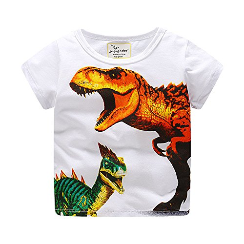 Toddler Kids Baby Boys Clothes Cute Cartoon Short Sleeve Dinosaur Print T-Shirt Tops Blouse, MITIY Orange