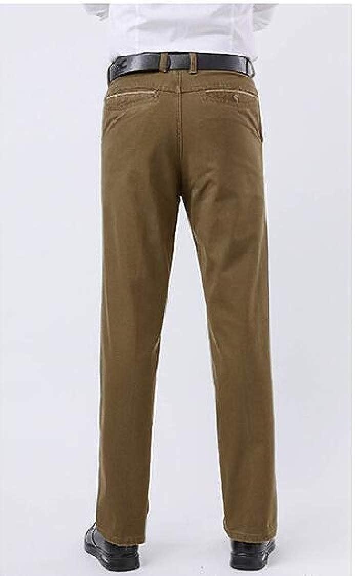 Pandapang Mens Classic Fit Straight Leg Casual Work High Rise Trousers Pants
