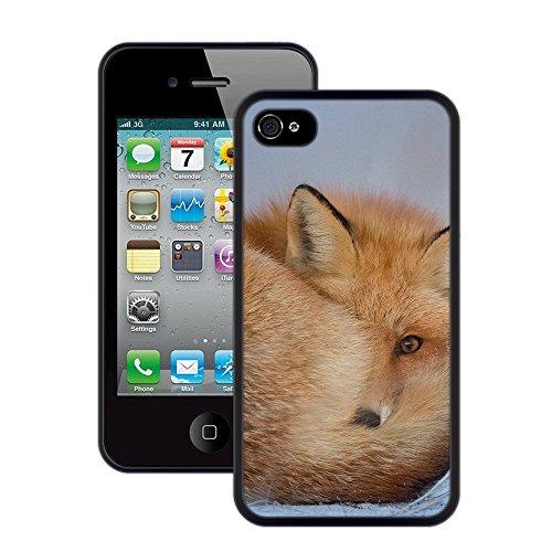 Fuchs | Handgefertigt | iPhone 4 4s | Schwarze Hülle