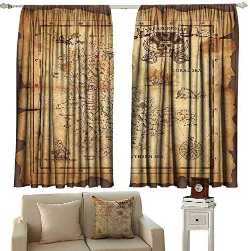 Decorative Curtains for Living Room Island Map Super Detailed Treasure Map Grungy Rustic Pirates Gold Secret Sea History Theme Beige Brown Blackout Draperies for Bedroom Window W84 xL108