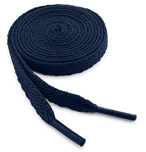 OrthoStep Flat Athletic Navy 45 inch Shoelaces 2 Pair Pack ()