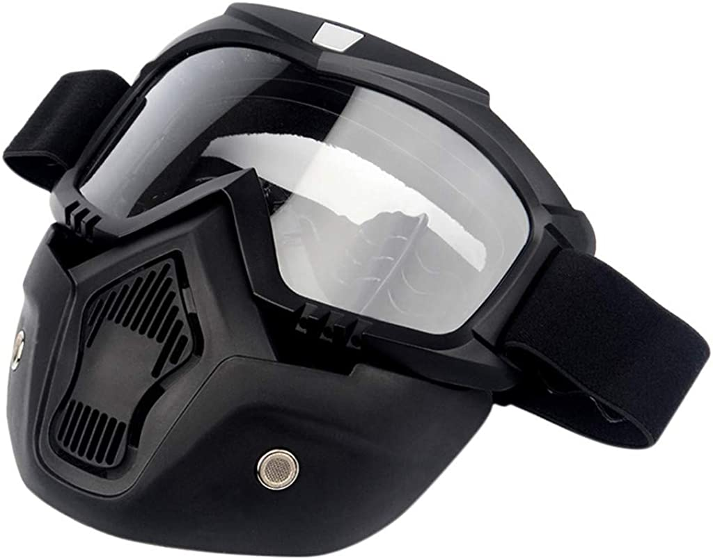 FAVARAL Casque Masques anti salive Anti-Poussi/ère anti pollution hygiene Masques respiratoires filtrant filtre de poussi/ère avec goggle lunettes Casque vtt velo moto racecraft
