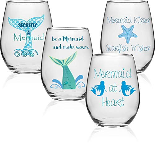 (Circleware 77074 Coastal Stemless Wine Decal Set of 4 Drinking Glass Set, Party Entertainment Dining Beverage Cups for Water, Juice, Beer, Liquor, Whiskey & Home Bar Decor, 18.5 oz Fun Mermaid Sayings)