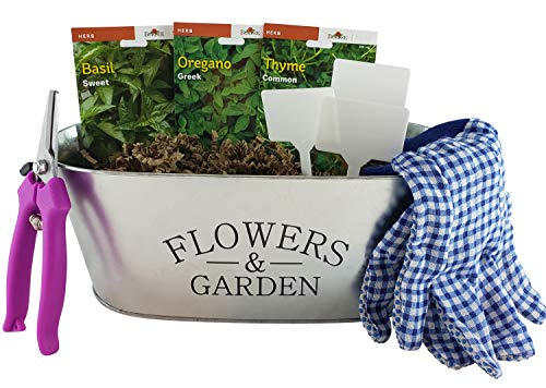 Culinary Herb Growing Starter Indoor Kit with Galvanized Tin Planter Includes: 3 Herb Seeds Starter Packs, Pruners, Gloves, Herb Garden Markers and a Floral Gift Card (English Wording)
