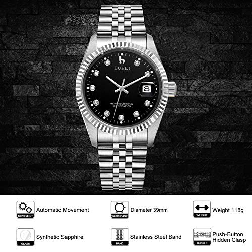 BUREI Men's Luxury Automatic Watch Date Display with Sapphire Crystal Rhinestone Markers and Stainless Steel Band