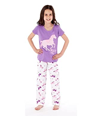 Wild and Free Kids Horse Design Pyjama Set  Purple  13  Amazon.co.uk   Clothing d16941d27