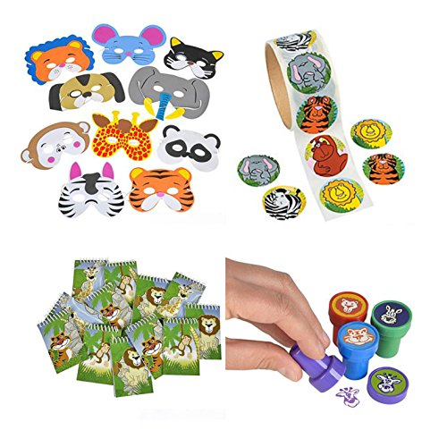 Animal Party Toy and Favor Kit, Features 24 Foam Animal Masks, 24 Animal Stampers, 100 Animal Stickers, and 12 notebooks. Great for Animal, Zoo, and Safari Themed (Jungle Themed Party)