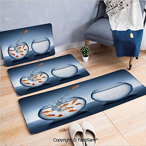 3 Piece Flannel Bath Carpet Non Slip Little Brave Goldfish Jumping One Fishbowl to Another Courage Improvement Decorative Front Door Mats Rugs for Home(W15.7xL23.6 by W19.6xL31.5 by W17.7xL53)