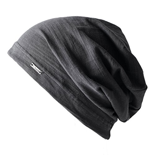 - CHARM Summer Beanie for Men and Women - Slouchy Lightweight Chemo Cotton Fashion Hat Dark Gray